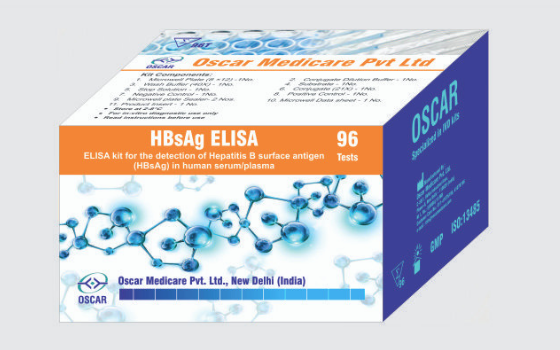 ELISA for the detection of Hepatitis B surface antigen HBsAg in human serum or plasma by Oscar Medicare Pvt Ltd