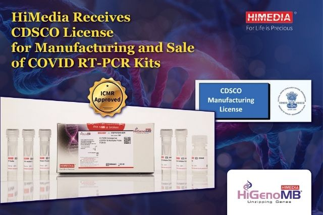 HiMedia Receives CDSCO certificate- Manufacturing & Sale License for COVID RT PCR KIT
